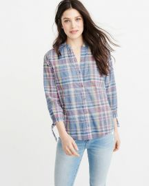 Tie Sleeve Button-up Shirt by Abercrombie & Fitch at Abercrombie