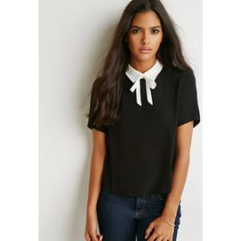 Tie neck boxy top at Forever 21