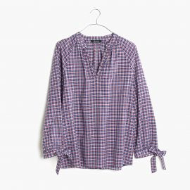 Tie-sleeve Popover Top in Whitby Plaid at Madewell