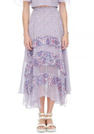Tiered Paisley Skirt in Admiral Combo at Rebecca Taylor