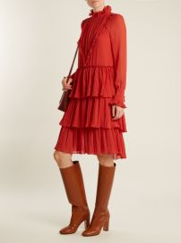 Tiered ruffle-trimmed crepe dress by See by Chloe at Matches