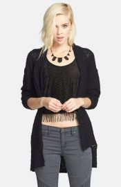 Tildon Textured Open Front Cardigan in black at Nordstrom