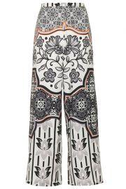 Tile Print Wide Leg Trousers at Topshop