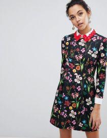 Tillena Skater Dress with Embellished Collar at Asos