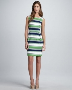 Tinas green striped dress on Glee at Neiman Marcus