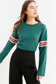 Tipped Striped Long Sleeve Tee by Urban Outfitters at Urban Outfitters