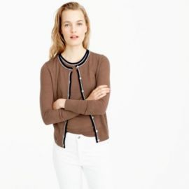 Tipped lightweight wool Jackie cardigan sweater at J. Crew