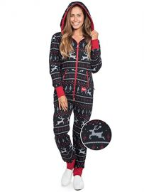 Tipsy Elves Men\'s and Women\'s Unisex Black  Red Fair Isle Reindeer Jumpsuit - Ugly Christmas Sweater Party Adult Onesie at Amazon