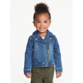 Toddler Girls Denim-Knit Moto Jacket at Old Navy
