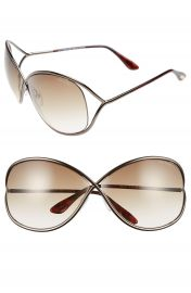 Tom Ford Miranda 68mm Open Temple Oversize Metal Sunglasses at Nordstrom