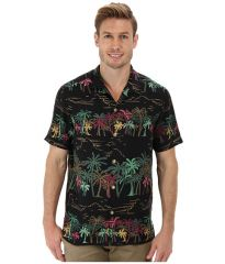 Tommy Bahama Island Modern Fit Palm Selleck SS Camp Shirt Black at Zappos