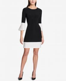 Tommy Hilfiger Colorblocked Bell-Sleeve Dress at Macys