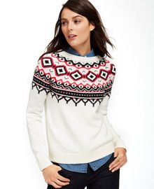 Tommy Hilfiger Fair-Isle Crew-Neck Sweater - Sweaters - Women - Macys at Macys