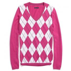 Tommy Hilfiger Ivy V-Neck Argyle Sweater in Pink at Macys
