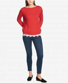 Tommy Hilfiger Lace Trim Sweater at Macys