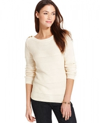 Tommy Hilfiger Long-Sleeve Marled-Knit Button-Shoulder Sweater - Sweaters - Women - Macys at Macys