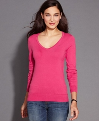 Tommy Hilfiger Long-Sleeve V-Neck Sweater in pink at Macys