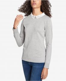 Tommy Hilfiger Rhinestone-Embellished Layered-Look Sweater at Macys