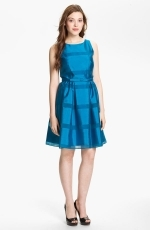 Tonal stripe fit and flare dress by Taylor Dresses at Nordstrom