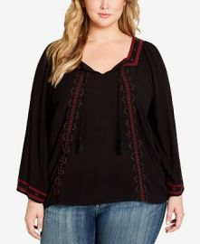 Top:  Plus Size Rogan Embellished Peasant Top by Jessica Simpson at Macys