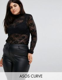 Top in Lace with Shoulder Pad by ASOS at ASOS