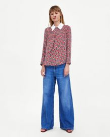Top with Contrasting Collar by Zara at Zara