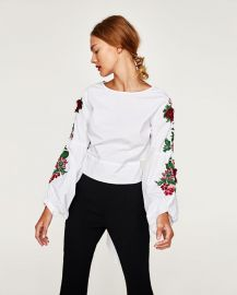 Top with Embroidered Sleeves and Bow in Back at Zara