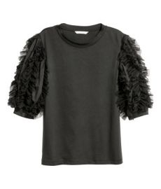 Top with Mesh Ruffles  at H&M