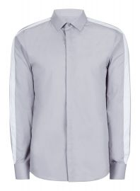 Topman Gray Contrast Stripe Smart Shirt at Topman