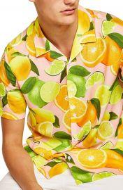 Topman Lemon Print Camp Shirt at Nordstrom
