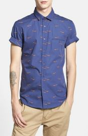 Topman Short Sleeve All Over Fox Print Shirt at Nordstrom