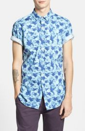Topman Short Sleeve Hibiscus Floral Print Shirt at Nordstrom