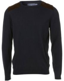 Topman Shoulder Patch Crewneck Sweater in Blue at Nordstrom