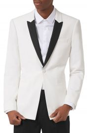 Topman Skinny Fit Contrast Tuxedo Jacket at Nordstrom