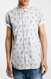 Topman Trim Fit Short Sleeve Flamingo Print Shirt at Nordstrom