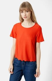 Topshop Scallop Frill Tee in Red at Nordstrom