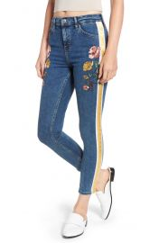 Topshop Stripe Floral Denim Pants mid at Nordstrom