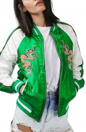 Topshop  Leo  Dragon Embroidered Bomber Jacket at Nordstrom