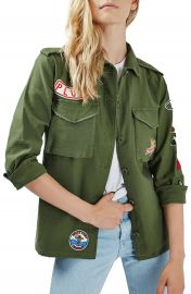 Topshop  Sandy  Badge Shirt Jacket  Regular   Petite at Nordstrom