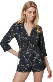 Topshop Alexa Three-Quarter Sleeve Leaf Romper at Nordstrom