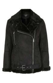 Topshop April Faux Shearling Biker Jacket in black at Nordstrom