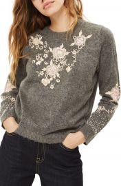 Topshop Beaded Embroidered Sweater at Nordstrom