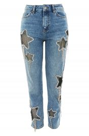 Topshop Bleach Diamante Star Jeans at Nordstrom