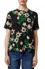 Topshop Boutique Daisy Print Silk Tee at Nordstrom