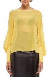 Topshop Boutique Puff Sleeve Silk Blouse yellow at Nordstrom