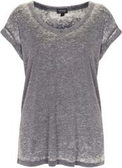 Topshop Burnout V-Neck Tee in grey at Nordstrom