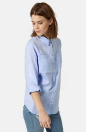 Topshop Button Front Chambray Shirt at Nordstrom