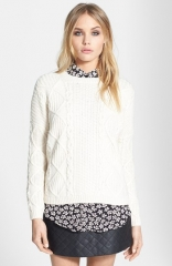 Topshop Cable Knit Boxy Sweater at Nordstrom