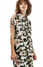 Topshop Camo Floral Print Shirtdress at Nordstrom