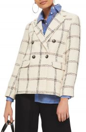 Topshop Check Double Breasted Blazer at Nordstrom